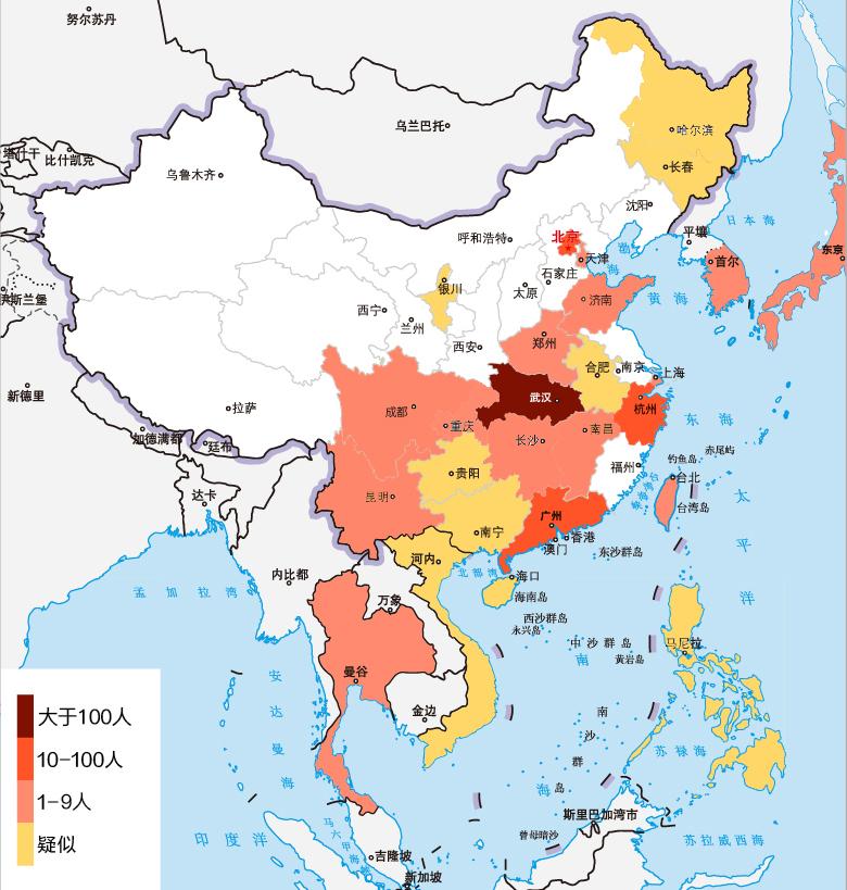 截至1月22日,新型冠状病毒肺炎疫情国内确诊443例,